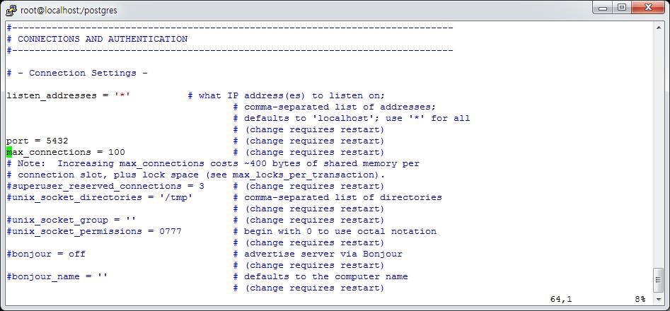 PostgreSQL postgresql.conf 파일화면
