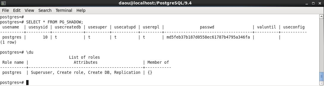 PostgreSQL-USER 조회
