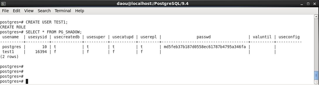 PostgreSQL-USER 생성
