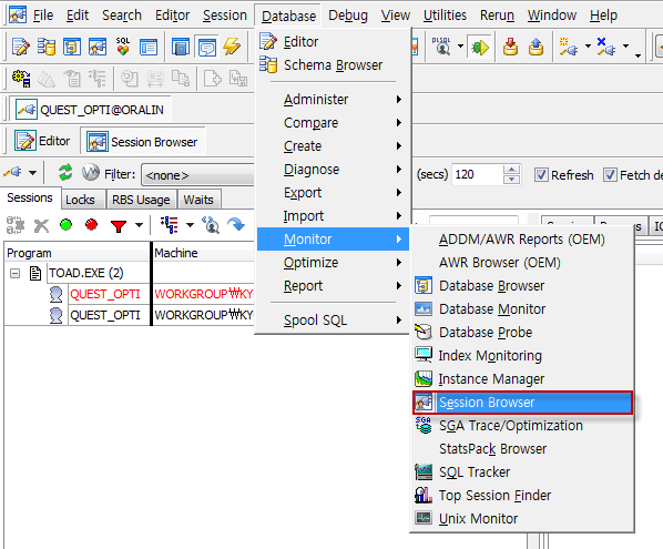 Session Browser 시작 방법