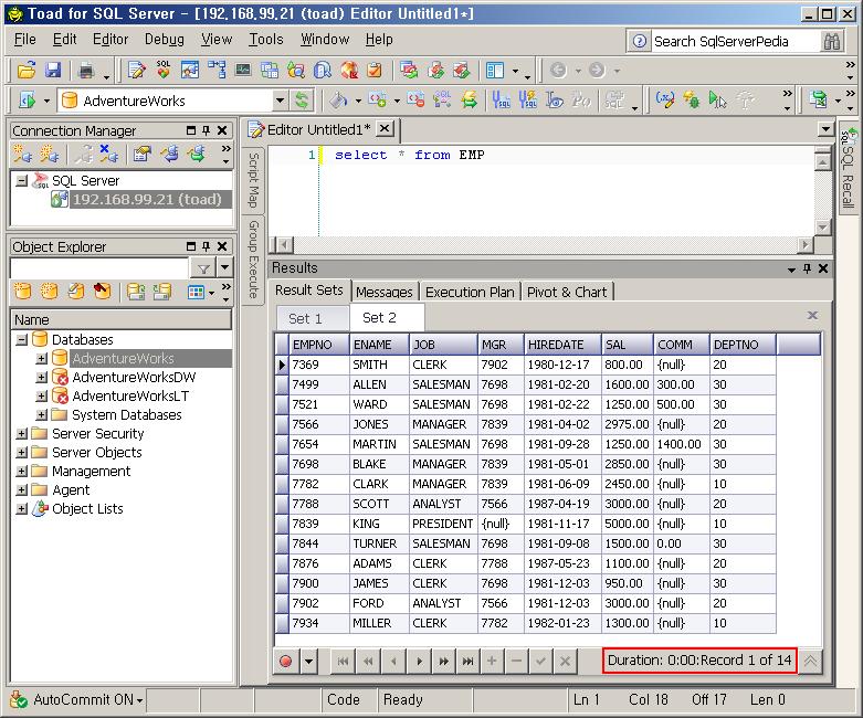 SQL Server에 Export된 데이터 확인. 총 14건