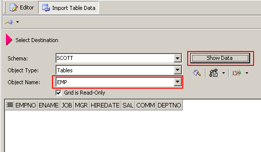Import Table Data 실행