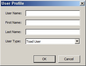 User profile – Toad World Repository에서 사용할 개인 정보