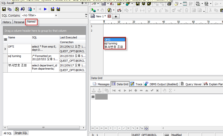SQL Recall – Named 실행