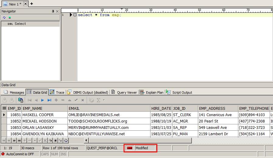 Toad 데이터 그리드 상에서 직접 데이터 수정