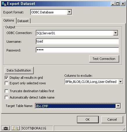 Toad 다른 DB로 직접 데이터 추출하는 방법