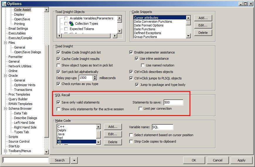 Toad 자동으로 저장된 SQL 이력 보기