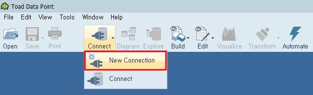 새로운 DB 접속을 위한 메뉴