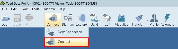 Toad Data Point 이전에 접속했던 DB 접속을 위한 메뉴