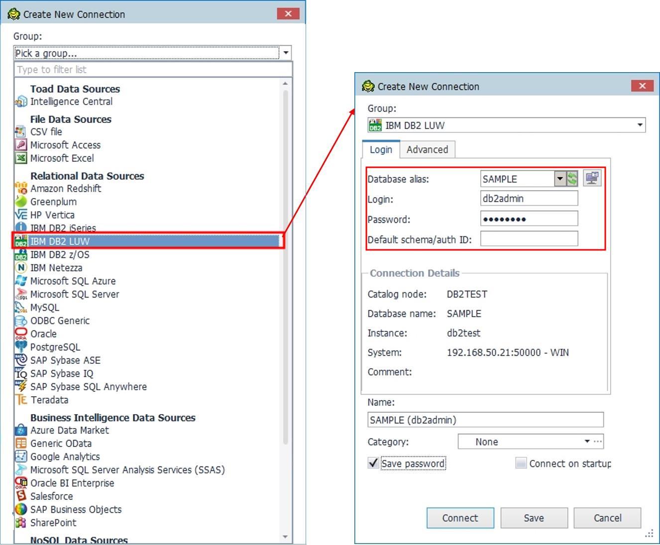 Toad Data Point 새로 접속하는 DB2 접속 정보 입력