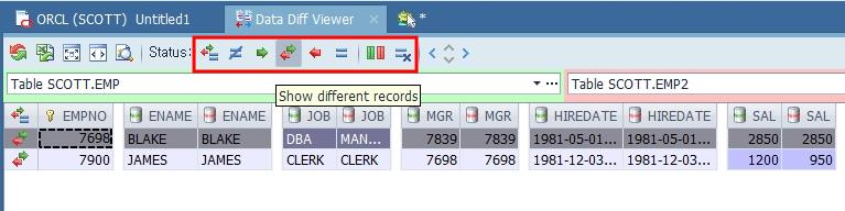 Toad Data Point Data Diff Viewer