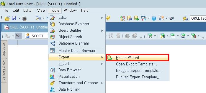 Toad Data Point Export Wizard