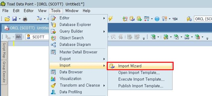 Toad Data Point Import Wizard