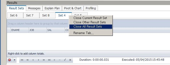 [ SQL 실행 결과 Set 닫기